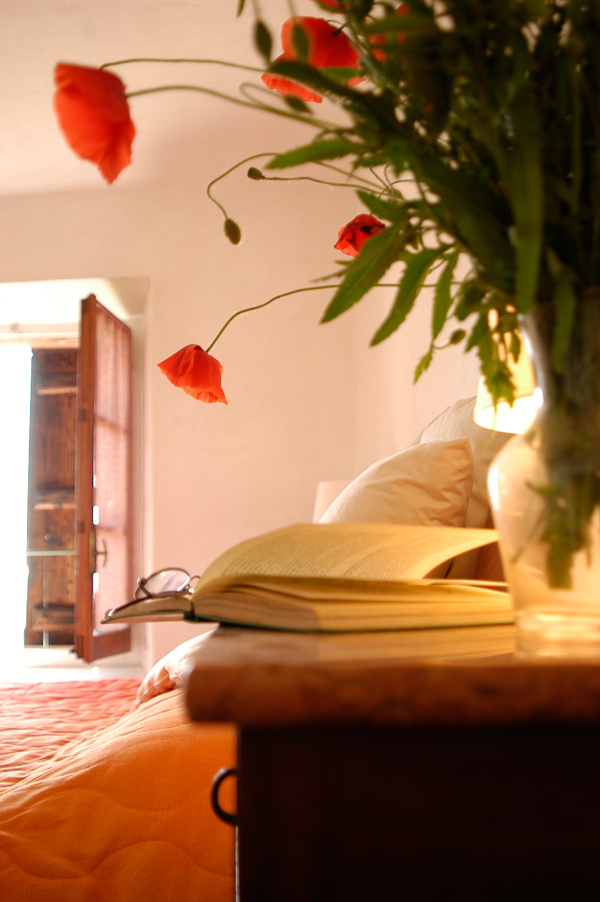 Book and flowers at Cascina rosa b&b