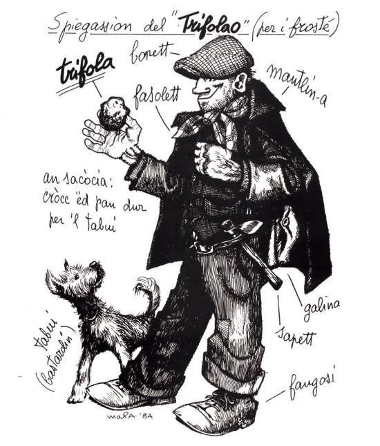 Il trifolao, cercatore di tartufi con il fido tabui